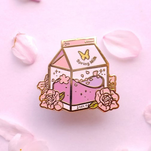 Spring Milk Enamel Pin