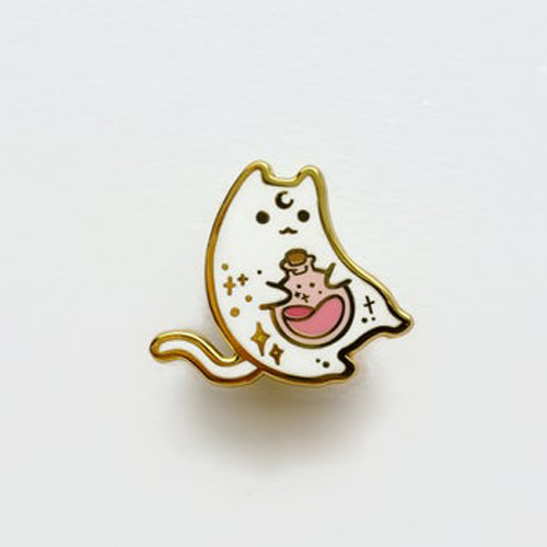 Witch Potion Cat Enamel Pin(White)