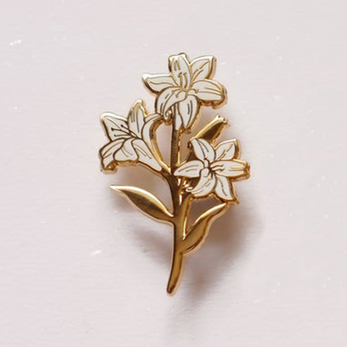 Pink Lily Flower Enamel Pin(White)