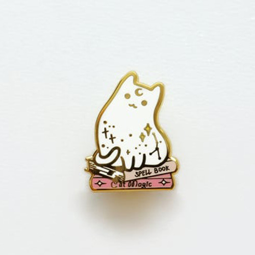 Witch Spell Book Cat Enamel Pin(White)